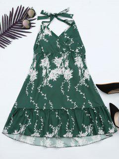 Halter Floral Print Ruffle Hem Dress - Green M