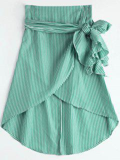 High Waist Ruffled Striped Asymmetric Skirt - Green Xl