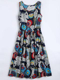 Floral Print Sleeveless Flare Dress - Floral M