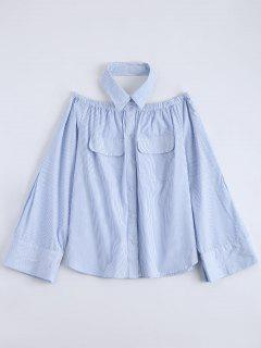 Button Up Striped Pocket Blouse - Light Blue 2xl