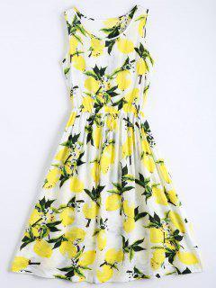 Lemon Print Drawstring Sleeveless Dress - White Xl