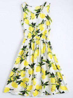Lemon Print Drawstring Sleeveless Dress - White M