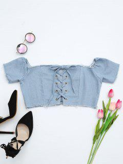 Lace Up Frayed Hem Crop Denim Blouse - Light Blue M