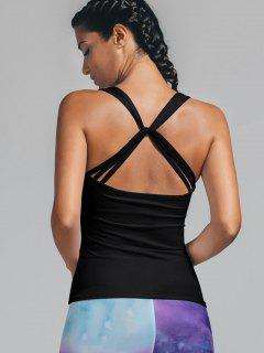 Twist Back Padded Sporty Tank Top - Black L