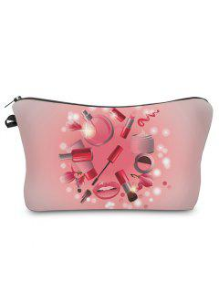 3D Cosmetics Print Clutch Makeup Bag - Pink