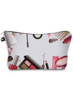 3D Cosmetics Print Clutch Makeup Bag - White