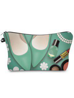 3D Cosmetics Print Clutch Makeup Bag - Green