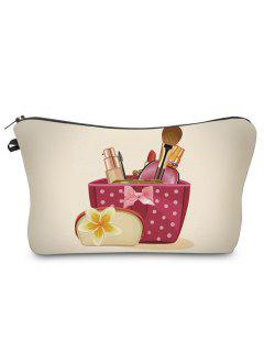 3D Cosmetics Print Clutch Makeup Bag - Palomino