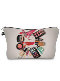 3D Cosmetics Print Clutch Makeup Bag - Gray