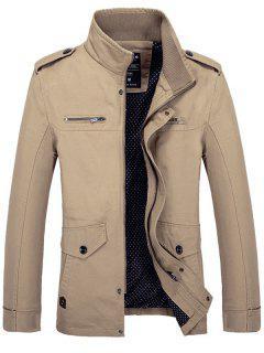 Stand Collar Side Pocket Design Graphic Print Jacket - Khaki 4xl