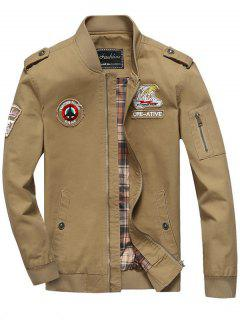 Patch Design Zip Fly Bomber Jacket - Khaki 4xl