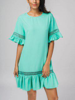 Sheer Flounces Casual Dress - Blue S