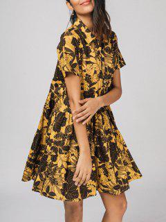 Floral Medio Abotonado Camisa Vestido - Floral