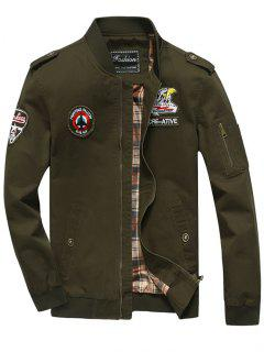 Patch Design Zip Fly Bomber Jacket - Army Green 3xl