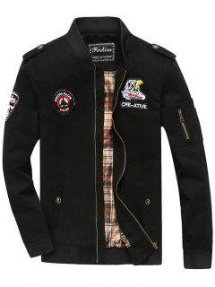 Patch Design Zip Fly Bomber Jacket - Black 4xl
