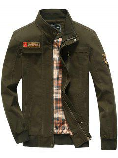 Patch Embellished Snap Button Design Jacket - Army Green L