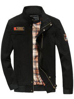 Patch Embellished Snap Button Design Jacket - Black L