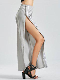 Slit Side Button Up Flare Pants - Light Gray Xl