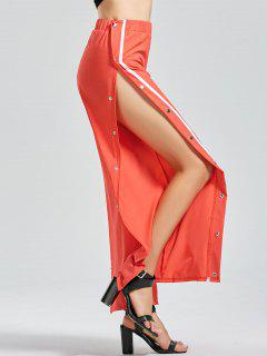 Slit Side Button Up Flare Pants - Watermelon Red M