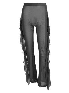 High Waist Sheer Mesh Ruffle Wide Leg Pants - Black M