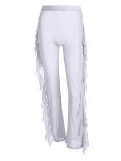 High Waist Sheer Mesh Ruffle Wide Leg Pants - White S
