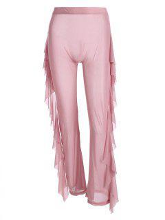 Pantalones Anchos De Pierna De Volantes De Malla De Cintura Alta - Rosa M