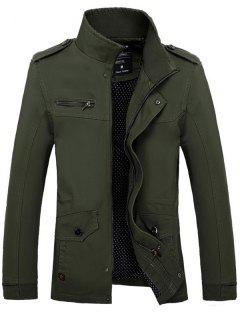 Stand Collar Side Pocket Design Graphic Print Jacket - Army Green Xl