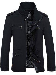 Stand Collar Side Pocket Design Graphic Print Jacket - Black L