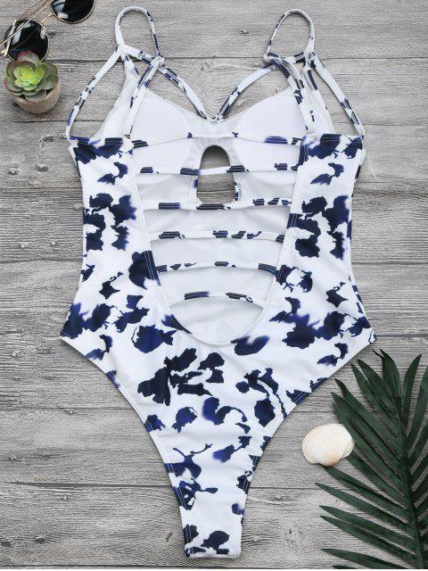 Maillot de bain à rayures coupe haute taille imprimée - Blanc L Mobile
