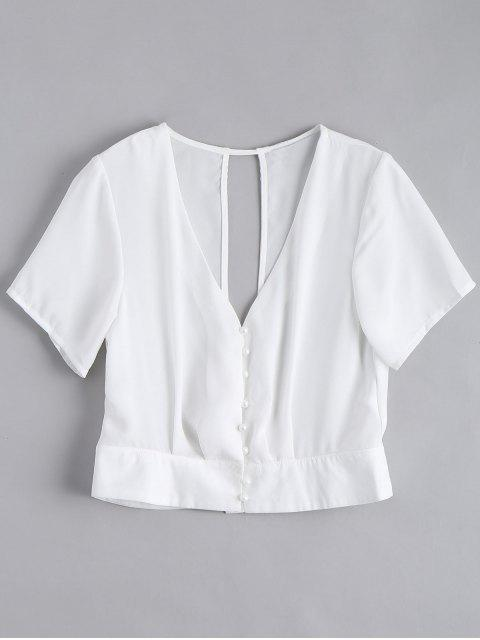 women Cut Out Button Up Chiffon Top - WHITE S Mobile
