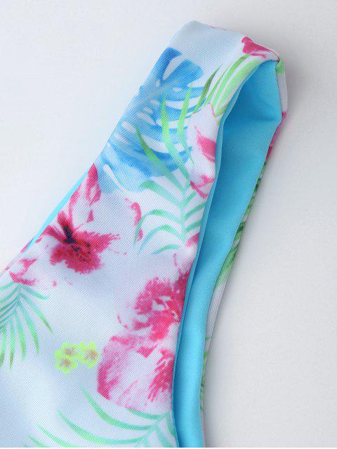lady Macrame Tropical Print Wrap Bikini Set - BLUE L Mobile