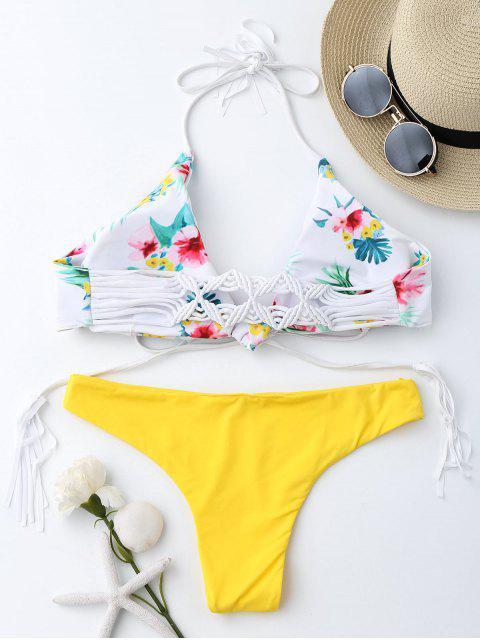 outfit Macrame Tropical Print Wrap Bikini Set - YELLOW S Mobile