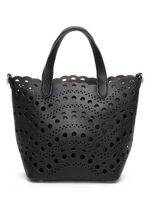 unique Cut Out Handbag with Interior Bag - BLACK  Mobile