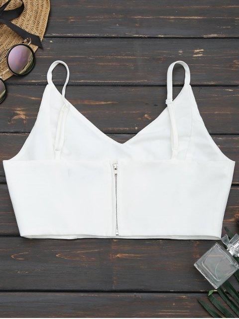 women's Back Zipper Criss Cross Crop Top - WHITE XL Mobile