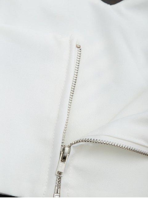 Retour Zipper Criss Cross Crop Top - Blanc M Mobile