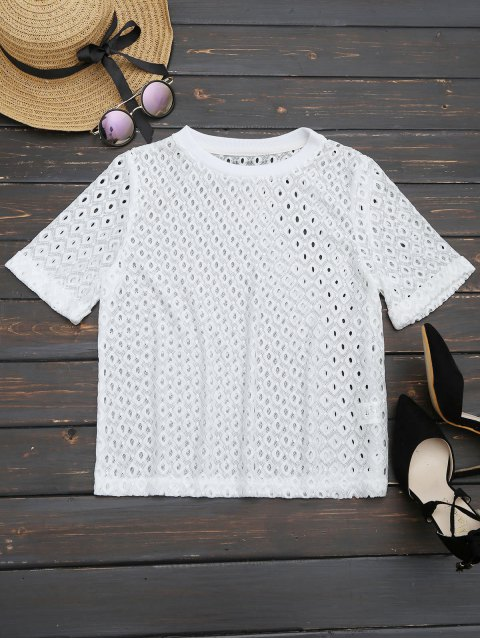 online Curled Sleeve Sheer Lace Top - WHITE XL Mobile