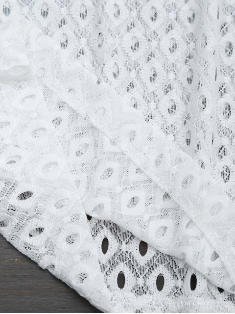 hot Curled Sleeve Sheer Lace Top - WHITE M Mobile