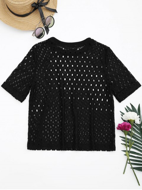 shops Curled Sleeve Sheer Lace Top - BLACK L Mobile