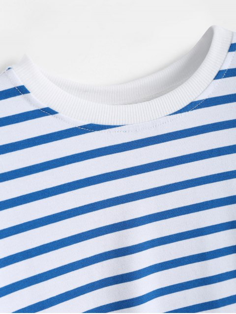 womens Loose Cotton Stripes T-Shirt - STRIPE S Mobile