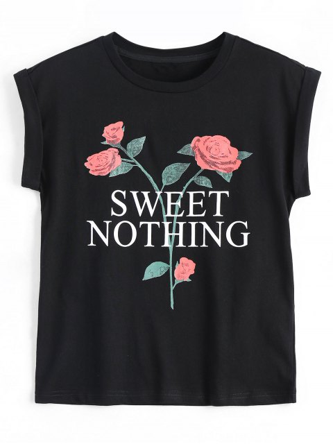 lady Cotton Letter Floral T-Shirt - BLACK M Mobile