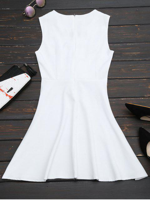 buy Lace Up Sleeveless Flare Dress - WHITE L Mobile