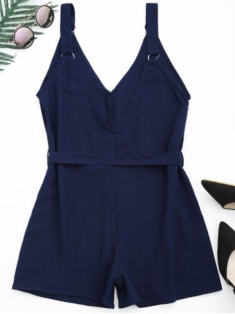 hot Backless Belted Chiffon Romper - PURPLISH BLUE L Mobile
