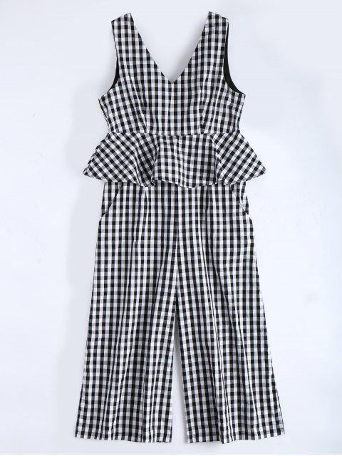 chic Sleeveless Flounce Checked Jumpsuit - CHECKED L Mobile