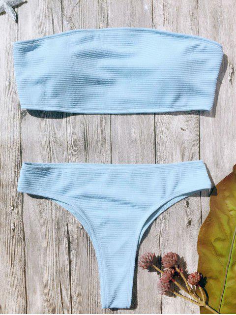 sale Textured High Leg Bandeau Bikini Set - LIGHT BLUE S Mobile