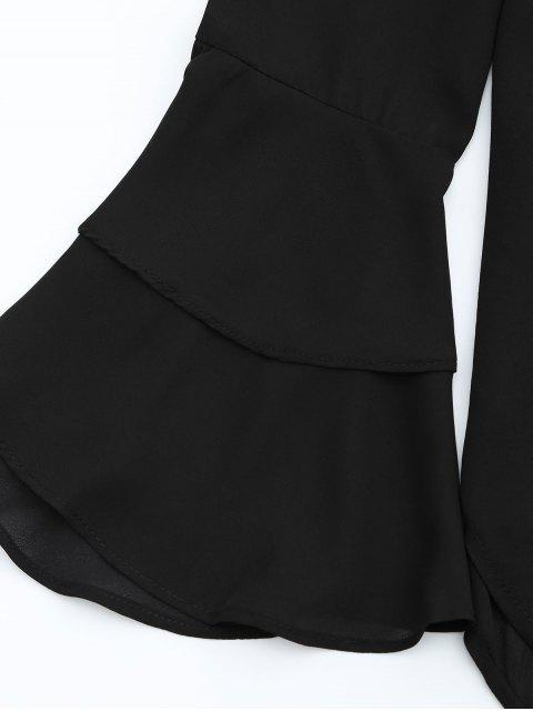 Off The Shoulder Tiered Flare Sleeve Blouse - Noir S Mobile