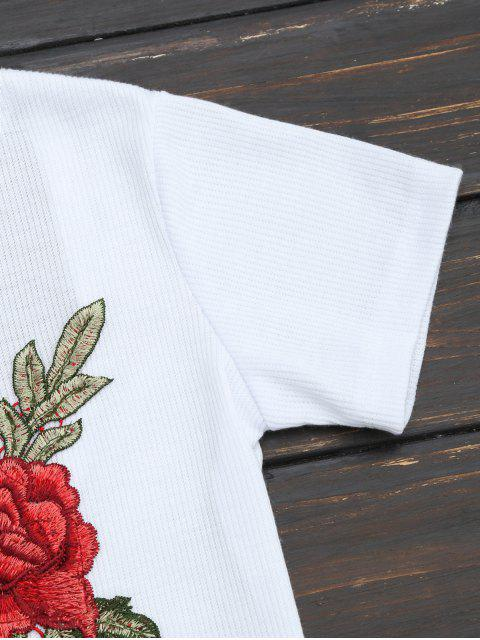unique Floral Patched Ribbed Knitted Tee - WHITE XL Mobile