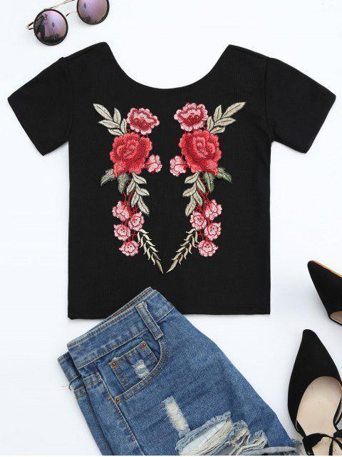 T-shirt tricoté côtelé avec broderie florale - Noir L Mobile