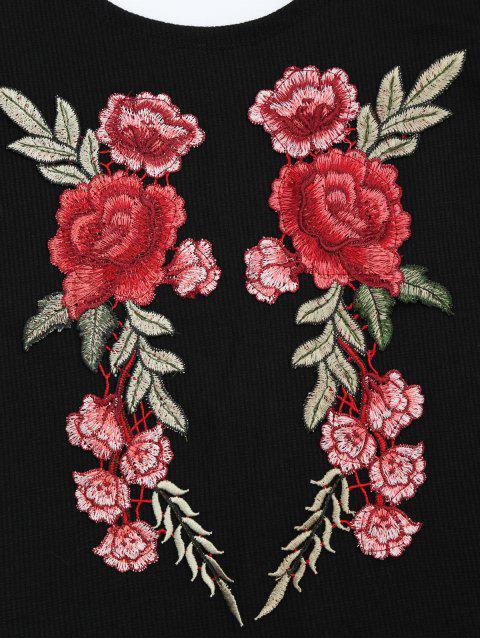 T-shirt tricoté côtelé avec broderie florale - Noir M Mobile
