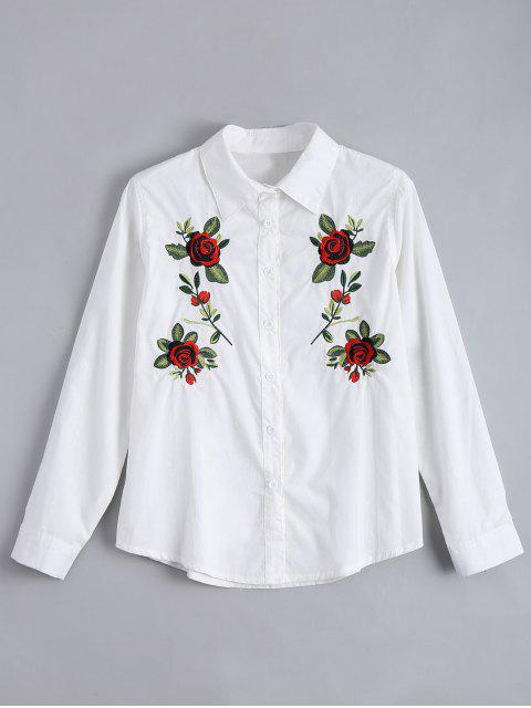 ladies Floral Patched Button Up Shirt - WHITE M Mobile