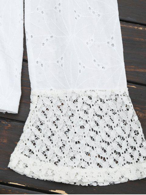 outfit Off The Shoulder Lace Panel Tassels Blouse - WHITE XL Mobile